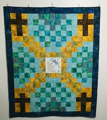 Religious Lap Quilt with Serenity Prayer and Crosses