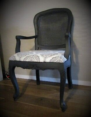 Hand Painted Charcoal Grey Cane Back Antique Style Farmhouse Country Chair Set
