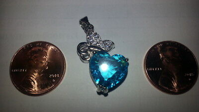 .925 Sterling Silver Heart Pendant December Blue & White Zirconias MAKE OFFER!!!