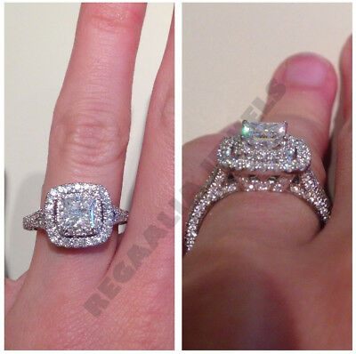 solid 14k white gold squire 2ct cushion cut diamond engagement wedding real ring