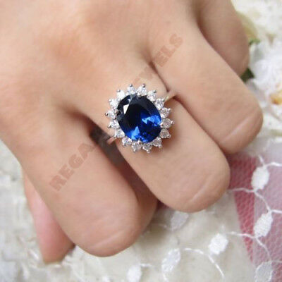 14k solid white gold 2.5ct oval cut blue sapphire diana princess engagement ring