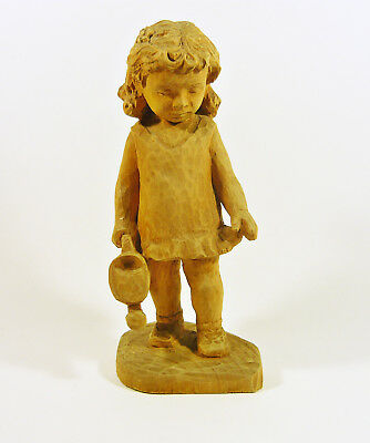 """Little Girl With A Water Can 9"""", Vintage Handmade Woodenware Carved Figurine !"""