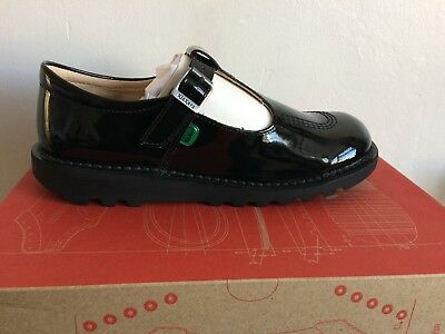 6e69312f229f99 Kickers Kick T-Bar Classic Kids Back to School Shoes in patent black size 38