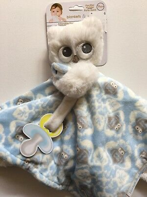 Adorable Owl Pacifier Holder Blue Nunu Blankets and Beyond RARE HOLDS PACIFIER