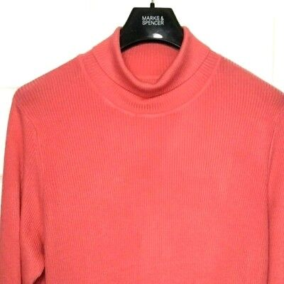 M&S Marks Pink Ladies Polo Turtle Roll Neck Staynew Soft Ribbed Jumper 22 BNWT