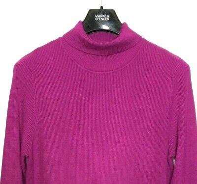 M&S Marks Purple Ladies Polo Turtle Roll Neck Staynew Ribbed Jumper 24 BNWT