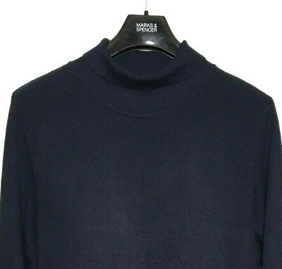 M&S Marks Navy Blue Ladies Polo Turtle Roll Neck Staynew Ribbed Jumper 22 BNWT