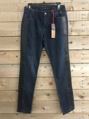 Liverpool ABBEY Skinny with Faux Leather Detail  Dark Paradise Blue Jean