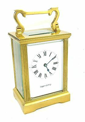 MAPPIN & WEBB Brass Carriage Mantel Clock Timepiece with Key  Working Order (54)