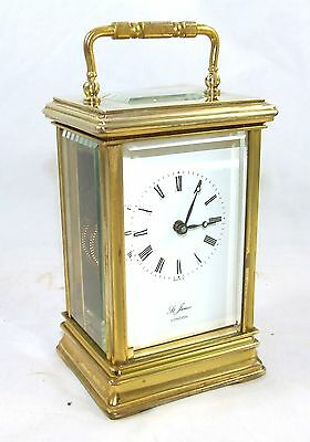 ENGLISH St James LONDON Brass Carriage Mantel Clock 11 Jewels : Working (59)