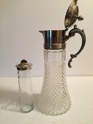 Crystal Carafe Pitcher Decanter Vintage Silverplate Top With Ice Chiller Insert