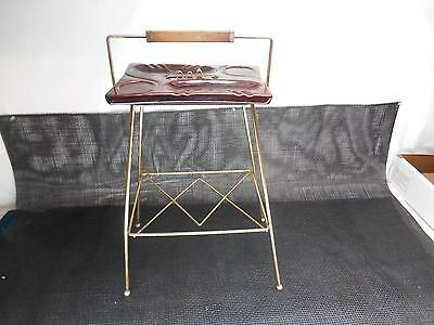 Old Vtg Gold Tone Metal SMOKING STAND Brown Glazed Pottery ASHTRAY Eames Era