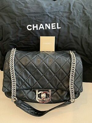 fad92c88e52e Chanel Dark Blue-Black Quilted Caviar Brushed Gold Charm Tote Bag 62696.