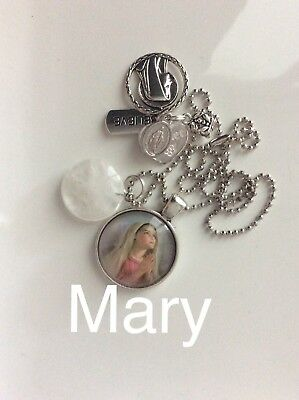 Code 372 Mother Mary quartz infused Necklace Confirmation Communion Cabochon