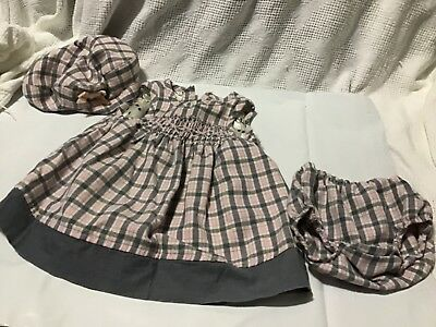 The Childrens Place Baby Girls Pink Gray and White Plaid Dress 6-9 months 3 Pcs