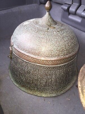 Rare LARGE Antique Pot With Hinged Lid- ISLAMIC - PERSIAN - OTTOMAN 19th Century