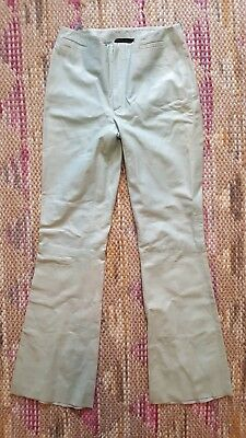 Gucci Women Pale Turquoise Soft Leather Pants Size 38 Inseam 30