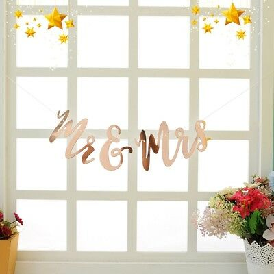 Photo Props Wedding Party Hanging Rose Gold Married Flag Banner Decor Supplies