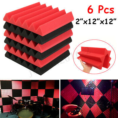 "6Pc 12""x12""x2"" Soundproofing Studio Acoustic Sound Insulation Foam Wall Tile Pad"