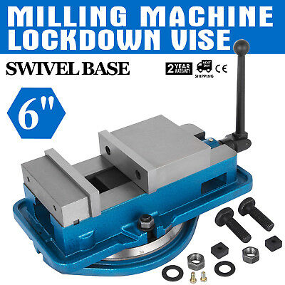 "6"" Precision Milling Lockdown Vise Swivel Base Drilling Machine 160mm Width 29KN"