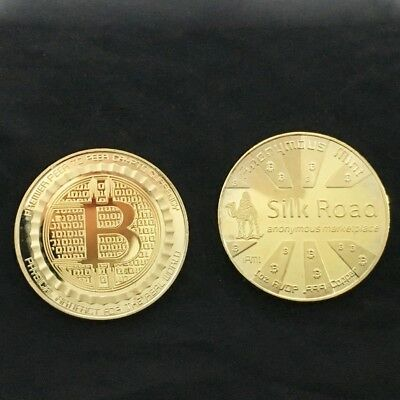 1piece 2018 Bitcoin Physical Collectible Coin BTC Gold Plated 1 Ounce 40mm New