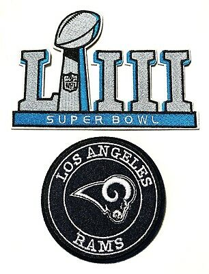 Nfl Super Bowl Liii 53 2019 Jersey Patch & Rams Logo #3 Patch Set Of 2 Iron On