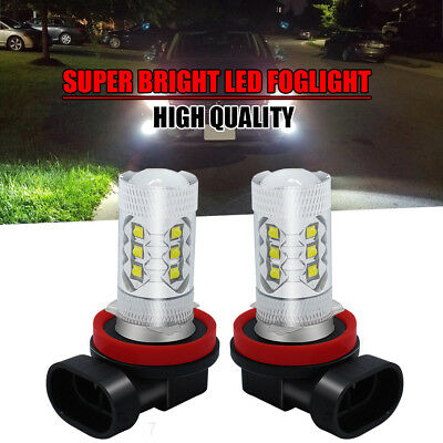 2Pc White 9005 HB3 9045 80W Projector Fog Driving Light Led Foglight for Ford