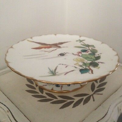 Victorian hand-coloured Robin/hedgrow china TAZZA comport CAKE STAND