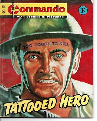 D.C. THOMSON, Commando War Stories Comic, Issue 58, 1963, Tattooed Hero