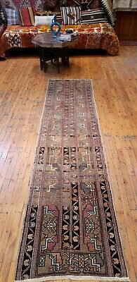 "Primitive Antique Cr1930-1939s Wool Pile Natural Dye Oushak Runner Rug 2'3""×8'7"""