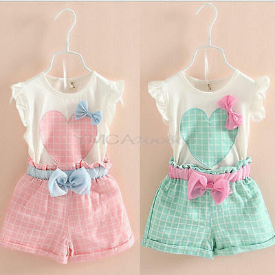 Toddler Kids Baby Girls Summer Outfits Clothes T-shirt Top+Pants Shorts 2P HGW
