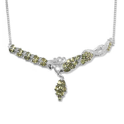 11ff69de50a9 925 Sterling Silver Platinum Plated Green Apatite Gift Necklace 18