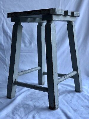 Very Cool Antique French Industrial Painted Wood Stool. Early 20thC