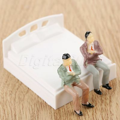 1:50 Model Double Bed Dolls House Miniature Furniture Bedroom White Plastic 10pc