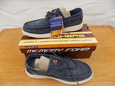 fb83d825f588 Mens Skechers Status Melec Navy Washed Canvas Comfort Lightweight Shoes  Size 8