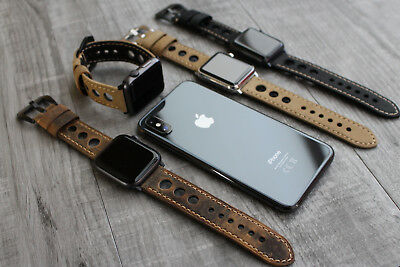 For Apple Watch Series 5 4 3 38/40/42/44mm Bull Leather Rally Strap Band Iwatch
