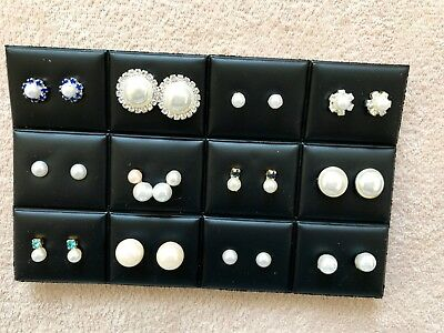 JOBLOT-12 pairs of pearl/diamante stud earrings.Gold/silver plated.UK handmade.