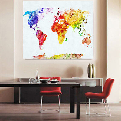 Retro World Map Art Canvas Print Painting Picture Home Wall Mural Decor Unframed