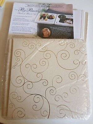 "Creative Memories 7x7"" Gold Swirls Scrapbook Album 12 white pages 12 Protectors"