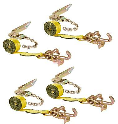 Mytee Products 2 Chain Ratchet Straps w//RTJ Tie Down Roll Back Tow Truck Car Hauler 4 Pack
