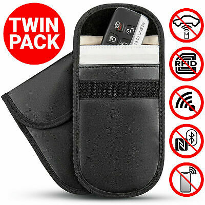 2 x CAR KEY SIGNAL BLOCKER FOB POUCH CASE KEYLESS RFID BLOCKING BAG CAGE FARADAY