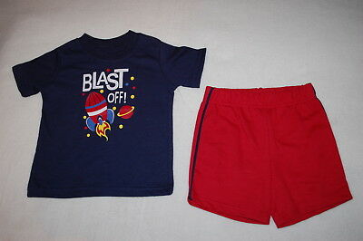 Baby Boys Outfit NAVY BLUE TEE SHIRT Rocket Planets BLAST OFF Red Shorts 18 MO