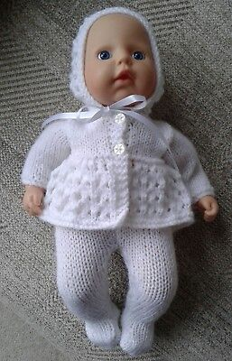 """HAND KNITTED OUTFIT FOR DOLL APPROX. 13-15 """" TALL ( e.g. My First Baby Annabell)"""
