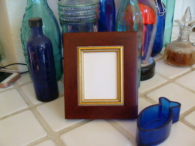 """ACEO Picture Frame Reddish Brown Wood for 2.5x3.5"""" Trading Cards, Photos, Glass"""