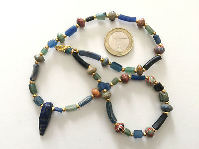 Lot 1 Necklace Roman Hand Carved Glass and Islamic Beads - Handmade -