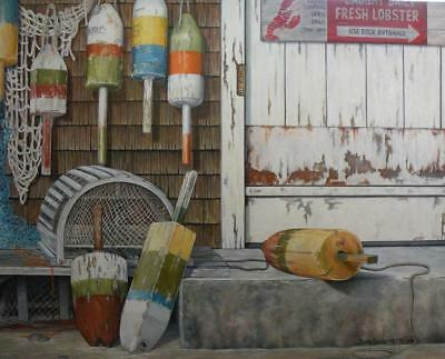 Lobster Trap Buoys Large Oil Painting on Canvas Original Wall Art by Guillemette
