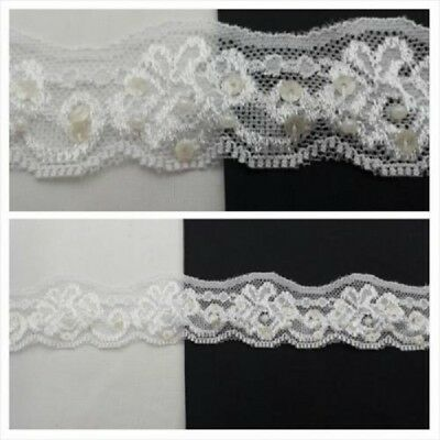 """Wholesale Roll 50 Yards White Floral Narrow Scalloped Stretch Lace Trim 5//8/"""""""