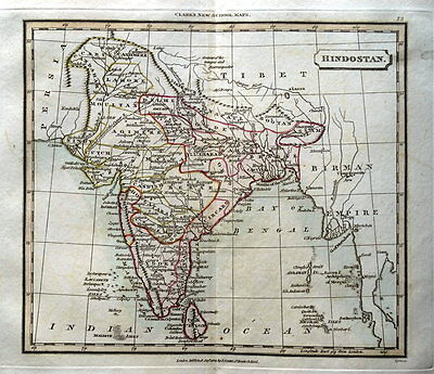 INDIA  SRI LANKA  MALDIVE ISLES  Original Hand Coloured Antique Map  1821