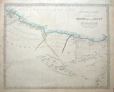 NORTH AFRICA, BARBARY, TRIPOLI, LIBYA, EGYPT original antique map c1840