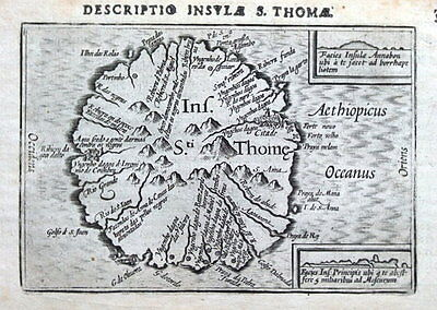 PETRUS BERTIUS Original Antique Map 1606  SAO TOME ISLAND, AFRICA ST THOMAE